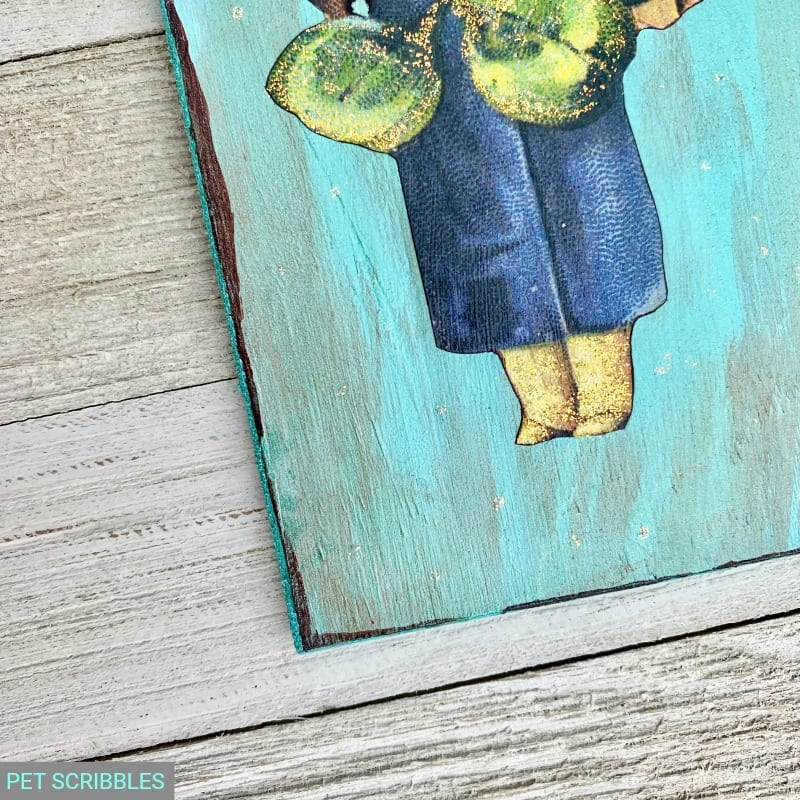 painted and glittered detail of vintage style St. Patrick's Day decor