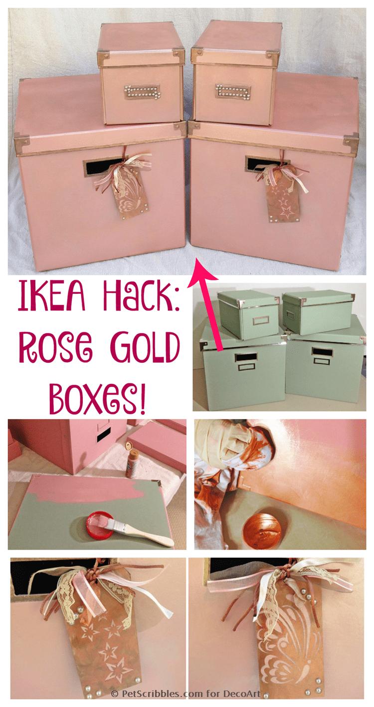 DIY Rose Gold Boxes IKEA Hack