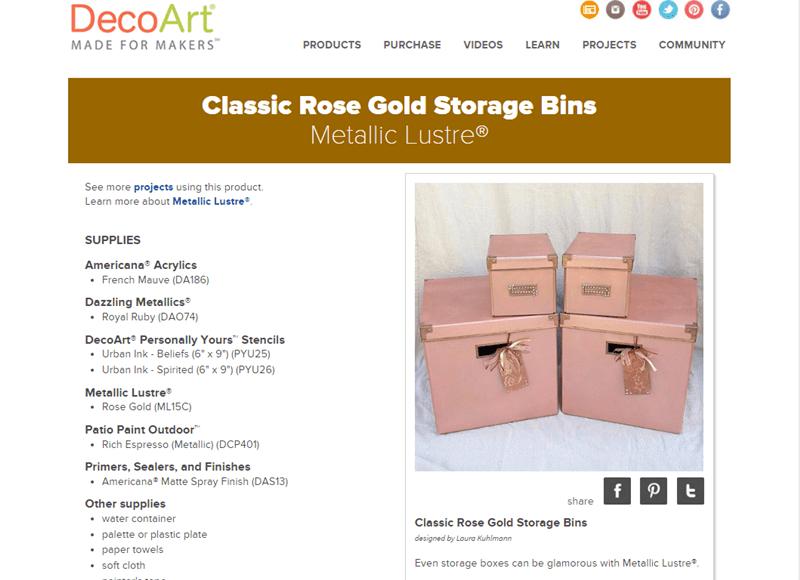 DIY Rose Gold Metallic Storage Boxes