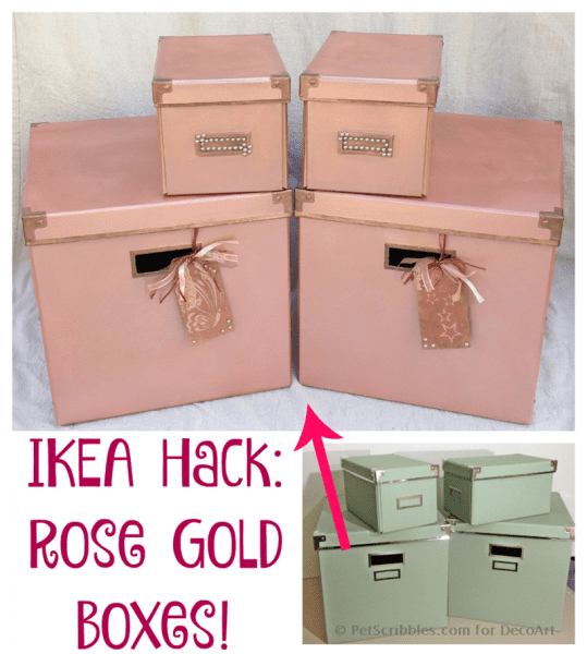 Make These Pretty Rose Gold Boxes - an IKEA Hack!