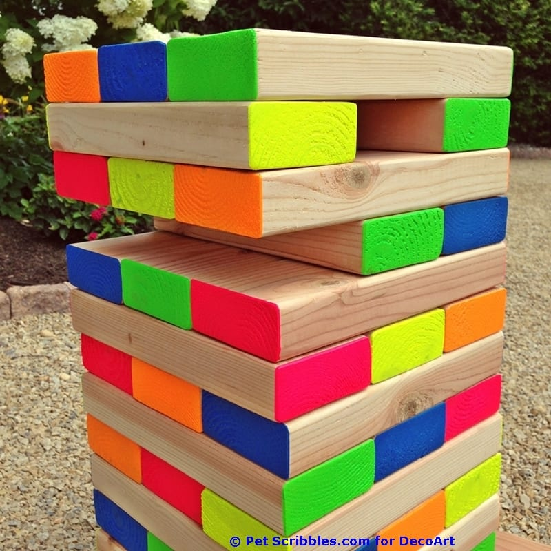 How to make a colorful outdoor giant jenga game pet scribbles diy giant outdoor jenga game solutioingenieria Gallery