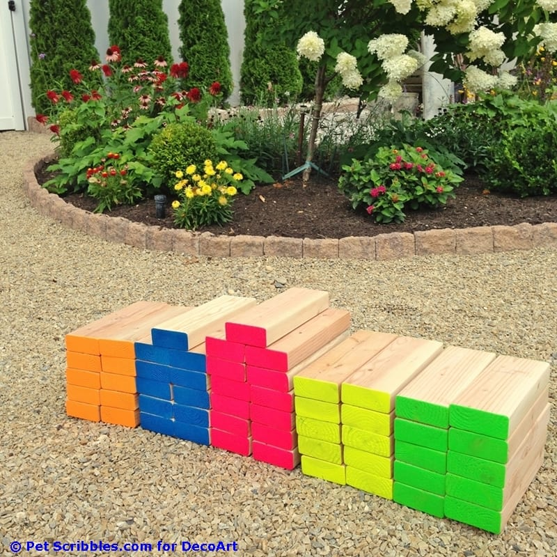 DIY Giant Outdoor Jenga Game - How To Make A Colorful Outdoor Giant Jenga Game! - Pet Scribbles