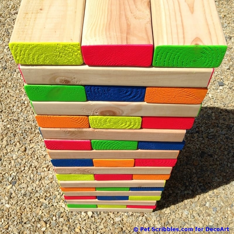 How To Make A Colorful Outdoor Giant Jenga Game Pet Scribbles