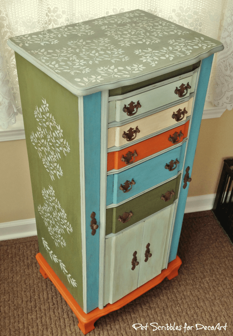Vintage Jewelry Armoire Makeover with Paint and Stencils Pet Scribbles