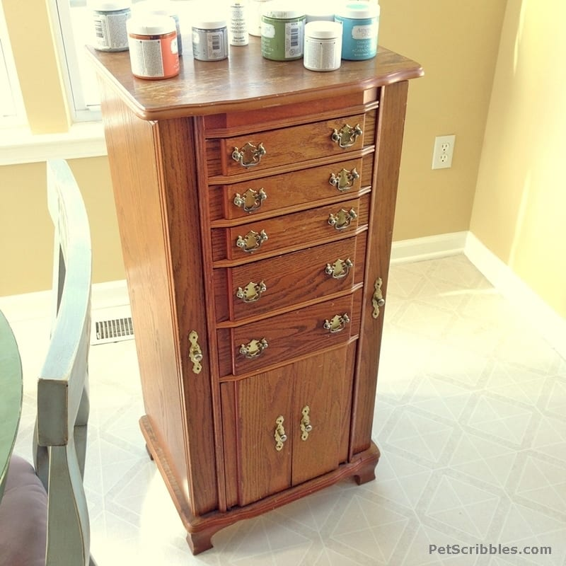 Vintage jewelry armoire makeover pet scribbles for Juno vintage modern jewelry armoire