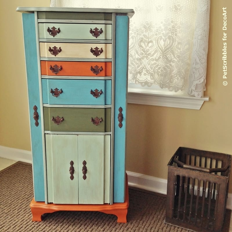 Vintage Jewelry Armoire Redo with Paint and Stencils Pet Scribbles