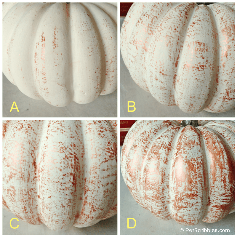how to dry brush metallic paint onto a craft pumpkin