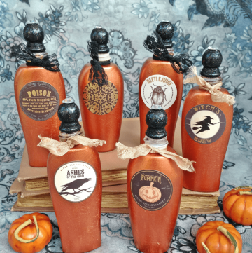 Make pretty potion and spell bottles for Halloween!