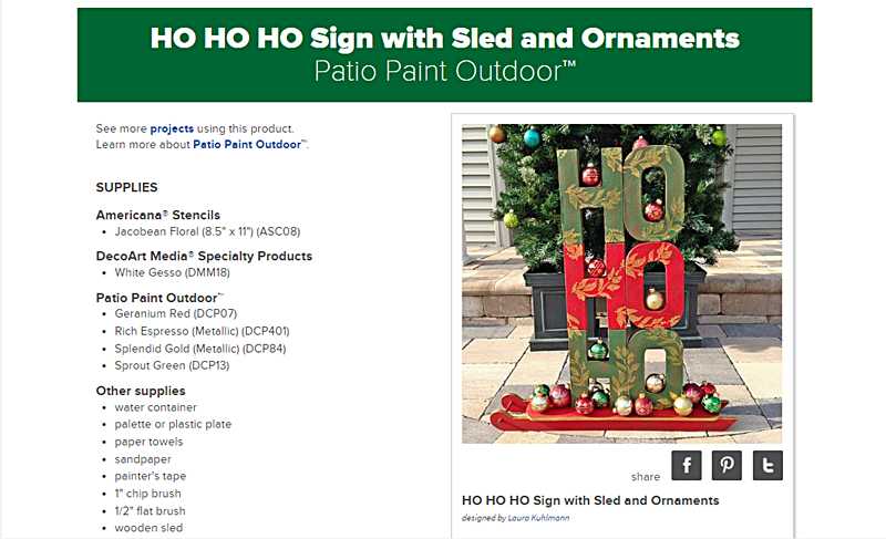 HO! HO! HO! Sign with Sled and Ornaments