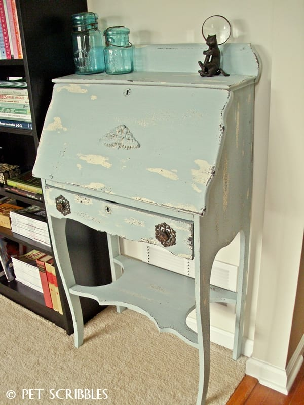 Chippy Paint Finish on Antique Secretary Desk: how to make a colorful chippy paint look you'll love!