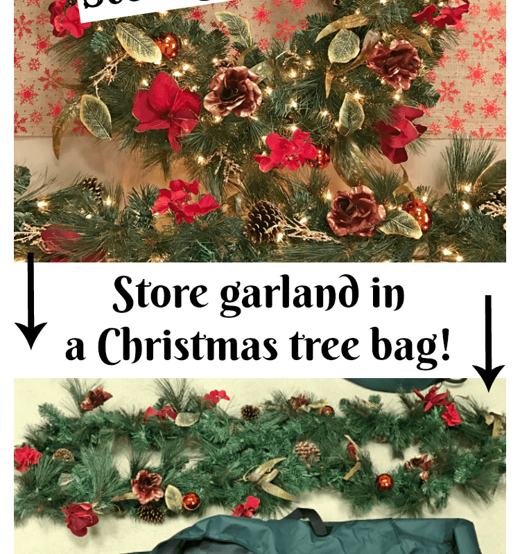 Smart idea: store garland in a small Christmas tree bag!