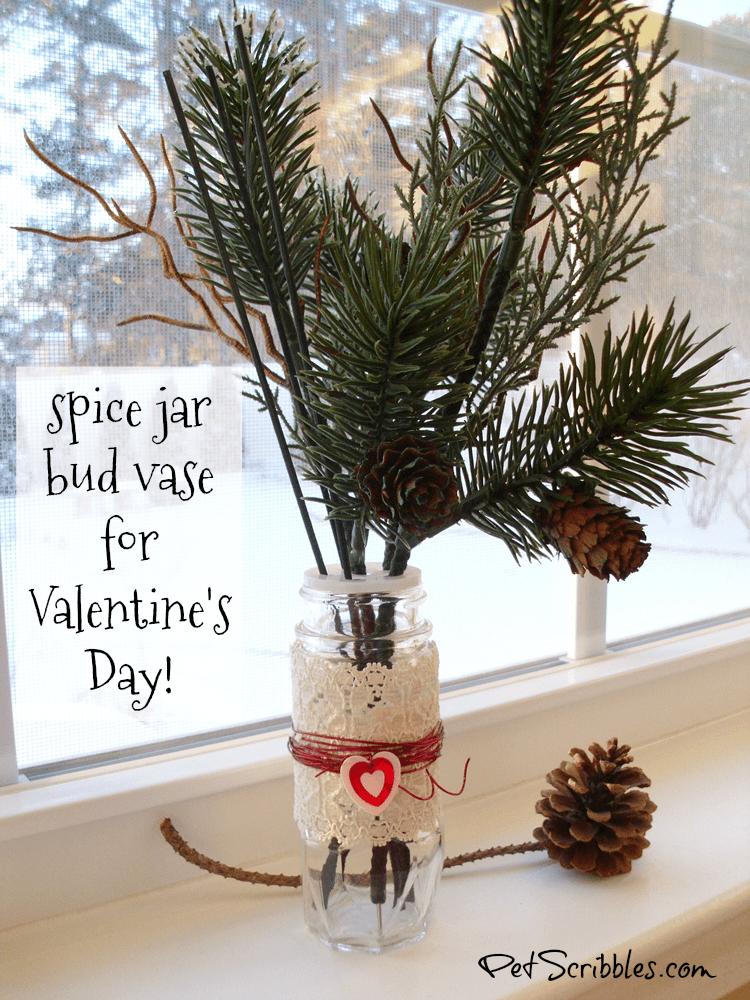 Spice Jar Bud Vase for Valentine's Day