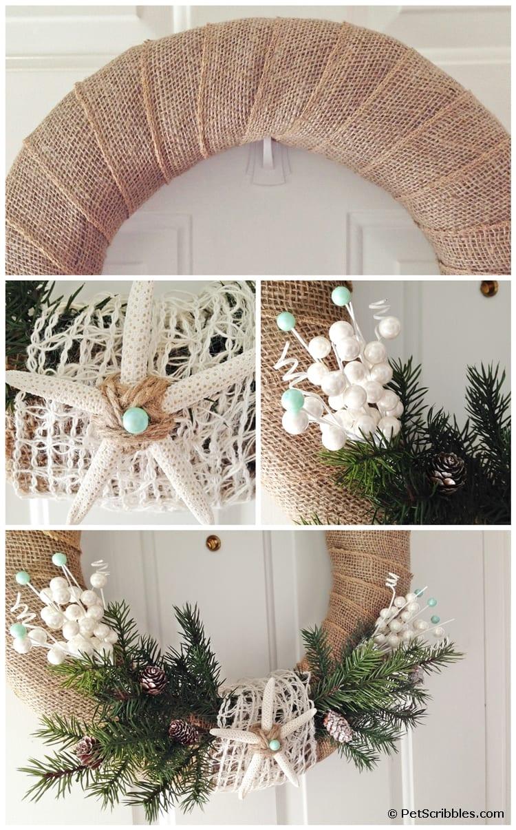 A simple coastal Winter wreath DIY