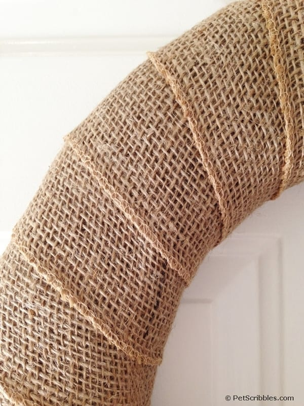 burlap wrapped around wreath form