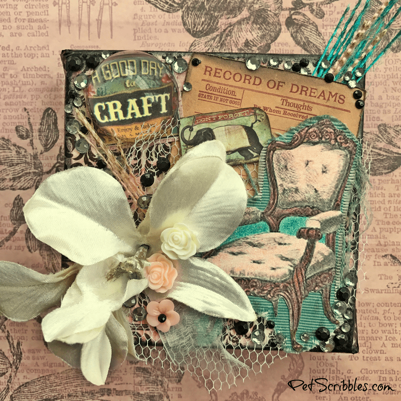 Don't Forget to Dream mixed media piece, using products from Canvas Corp, 7Gypsies and Tattered Angels