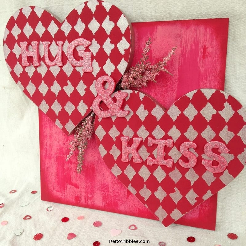 Make This Hug and Kiss Valentine's Day Wall Art!