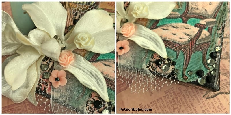 silk flowers and adhesive gems