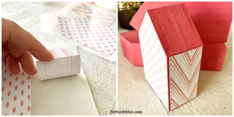 Little Pink Houses for You and Me: mixed media wood houses