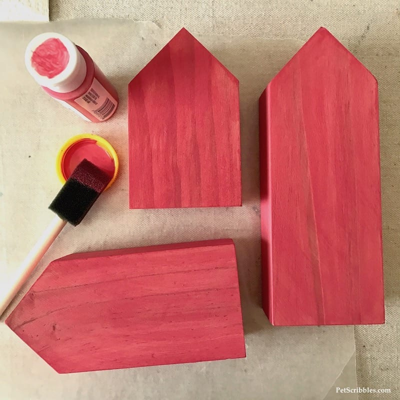 Little Pink Houses for You and Me: mixed media wood house