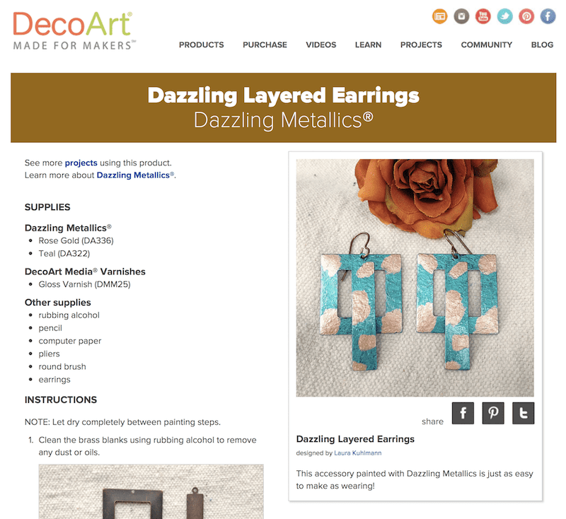 How to use metallic paints to make colorful metal earrings!