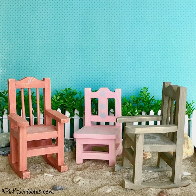 How to make weathered fairy garden beach chairs!