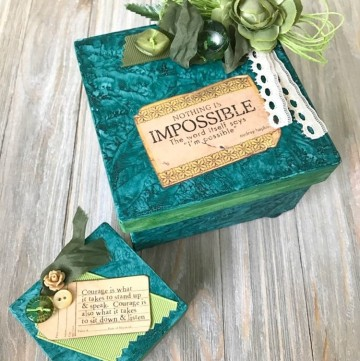 Painted Mixed Media Paper Maché Boxes: my happy accident mixing chalk paint and glimmer mist!