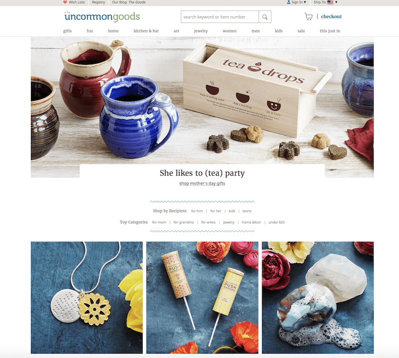 Uncommon Goods website