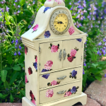 Vintage Jewelry Cabinet Redo with Paint and Mod Podge