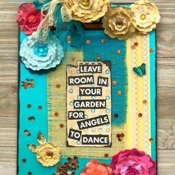 Welcome Summer with a Garden Theme Altered Clipboard