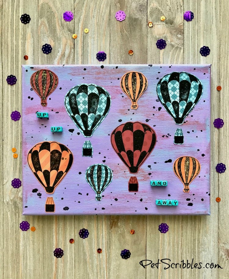 Hot Air Balloon Mixed Media Canvas -- easy tutorial with pictures!
