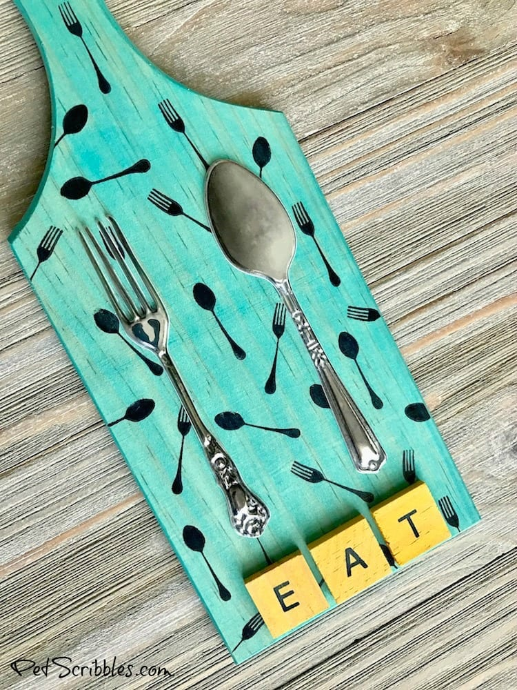 Make this colorful Fork and Spoon Kitchen Art using vintage adhesive embellishments instead of actual utensils! Yes, the fork and spoon are dimensional stickers! So fun and so many possibilities!