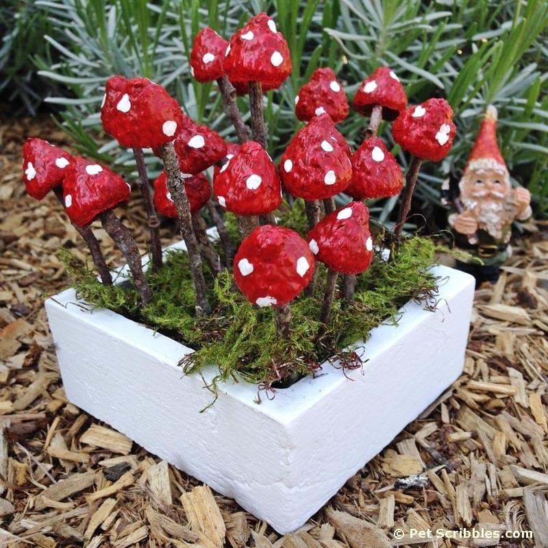 DIY fairy garden mushrooms with acorn caps