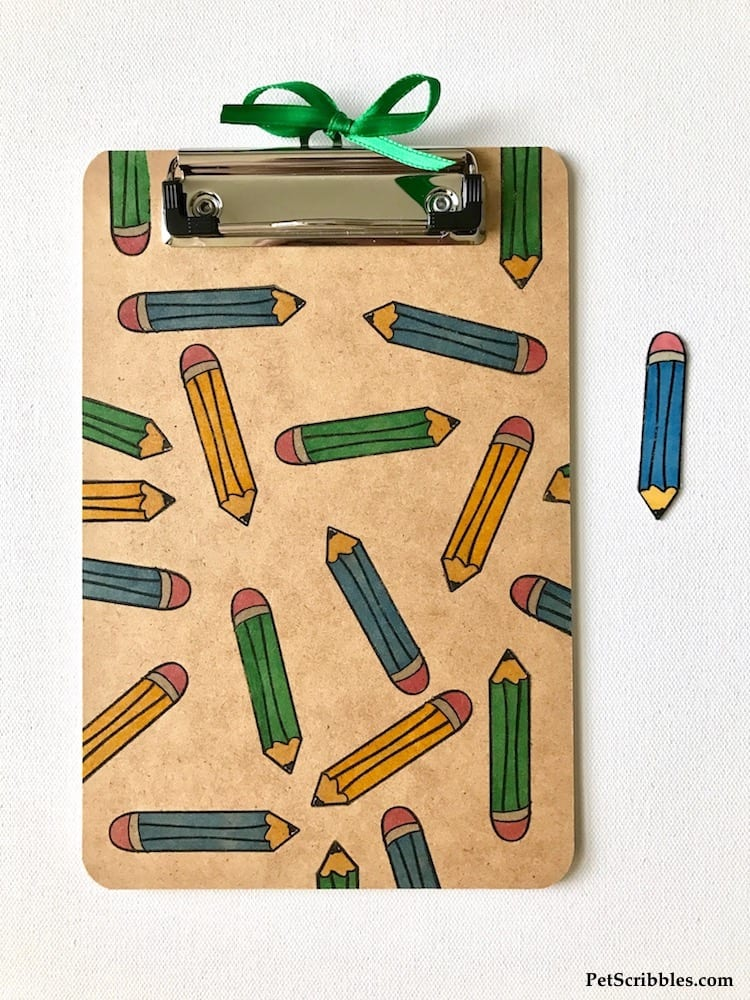 DIY stamped pencil clipboard and magnet