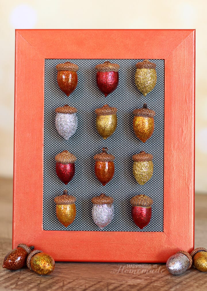Fall Specimen Art: Glittered Acorns DIY by Happiness is Homemade