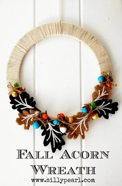 Fall Acorn Wreath tutorial by The Silly Pearl