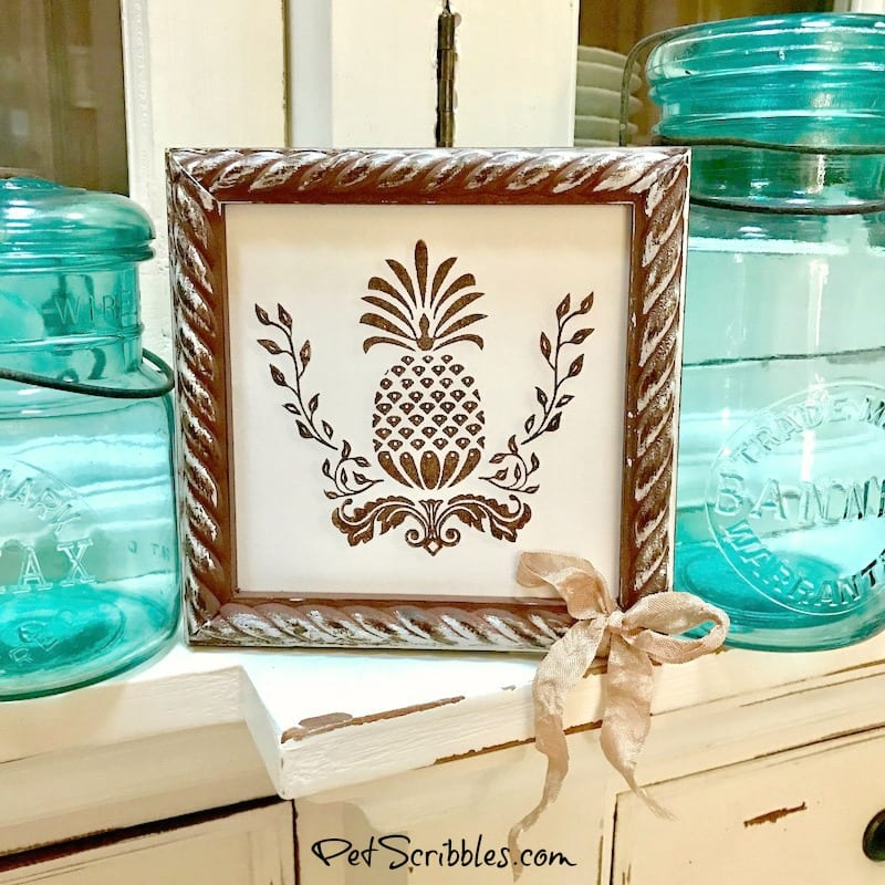 How to make Rustic Farmhouse Pineapple Art, with a beautiful Victorian pineapple stamp!
