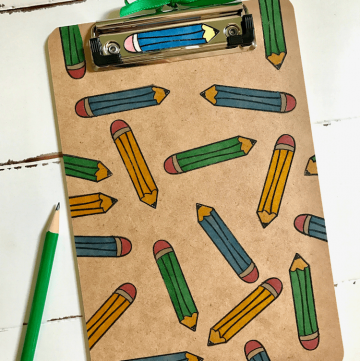 Easy-to-make, useful Teacher Gift: Stamped Pencil Clipboard and Magnet -- made with a simple pencil stamp!