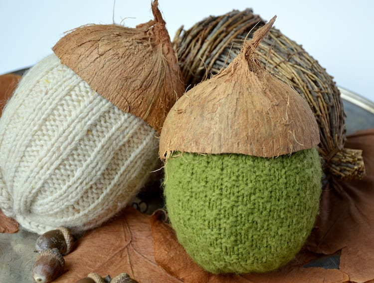 Coco-Nutty Sweater Acorns tutorial by Dandelion Patina