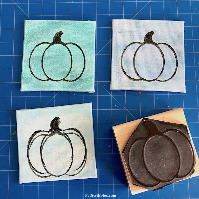 How to Make a Beautiful Miniature Pumpkin Canvas Trio