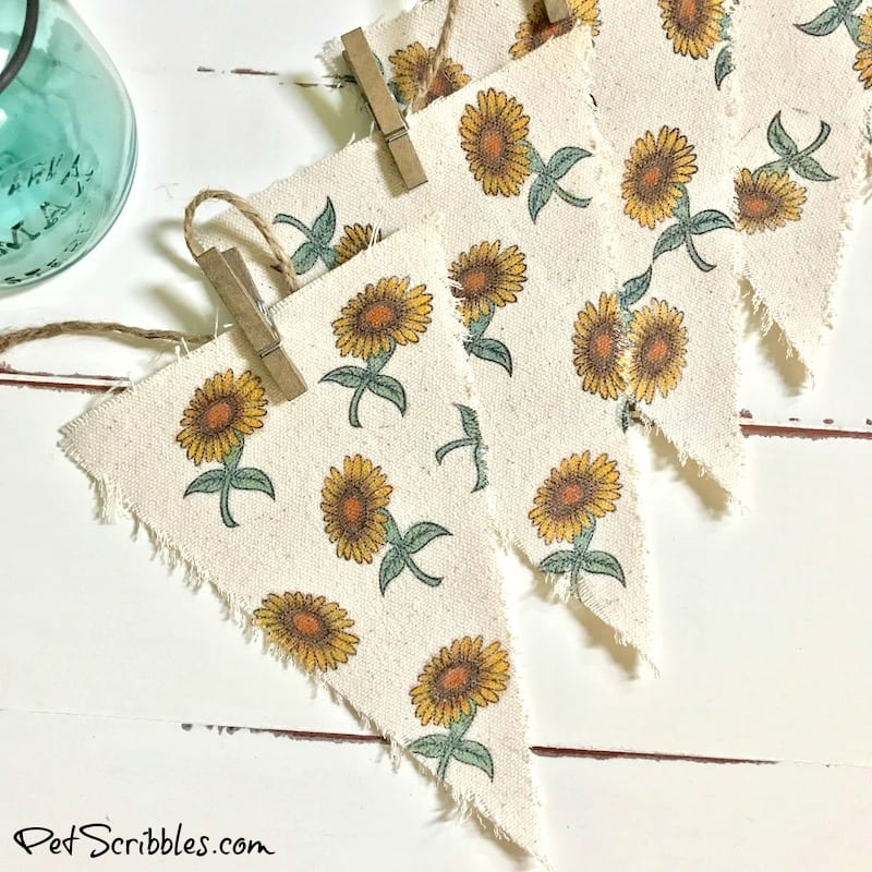 vintage sunflower fabric farmhouse banner