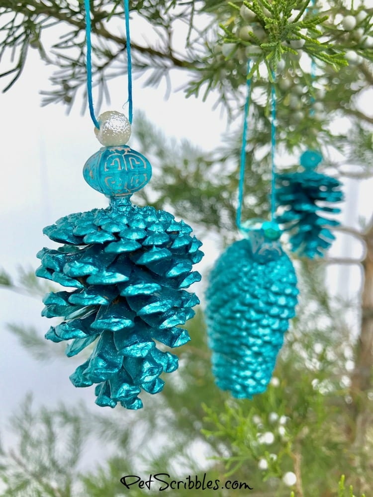 how to make a stunning teal pinecone ornament - Teal Christmas Ornaments