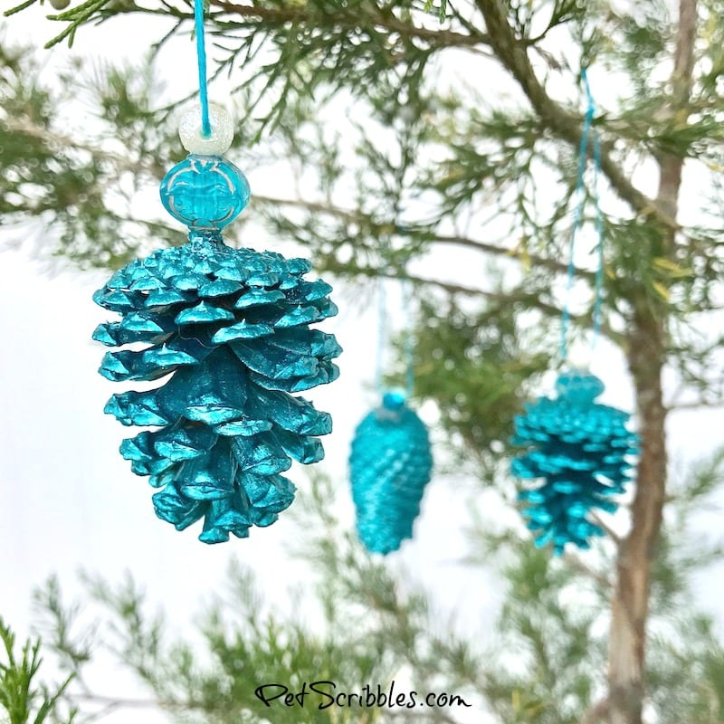 DIY teal pinecone ornaments