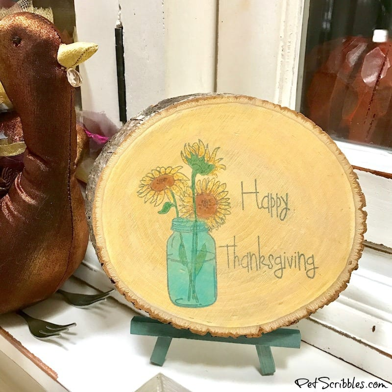 rustic Thanksgiving wood slice