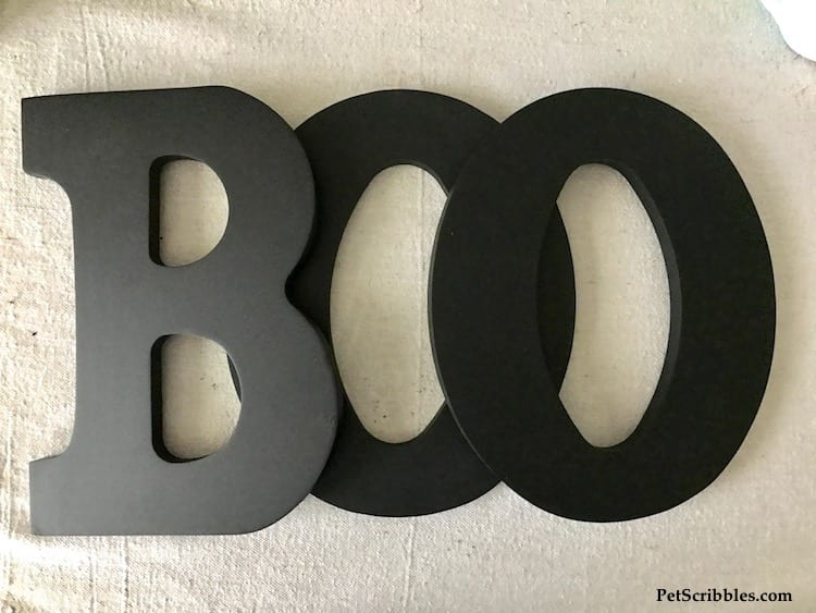 black BOO Halloween letters