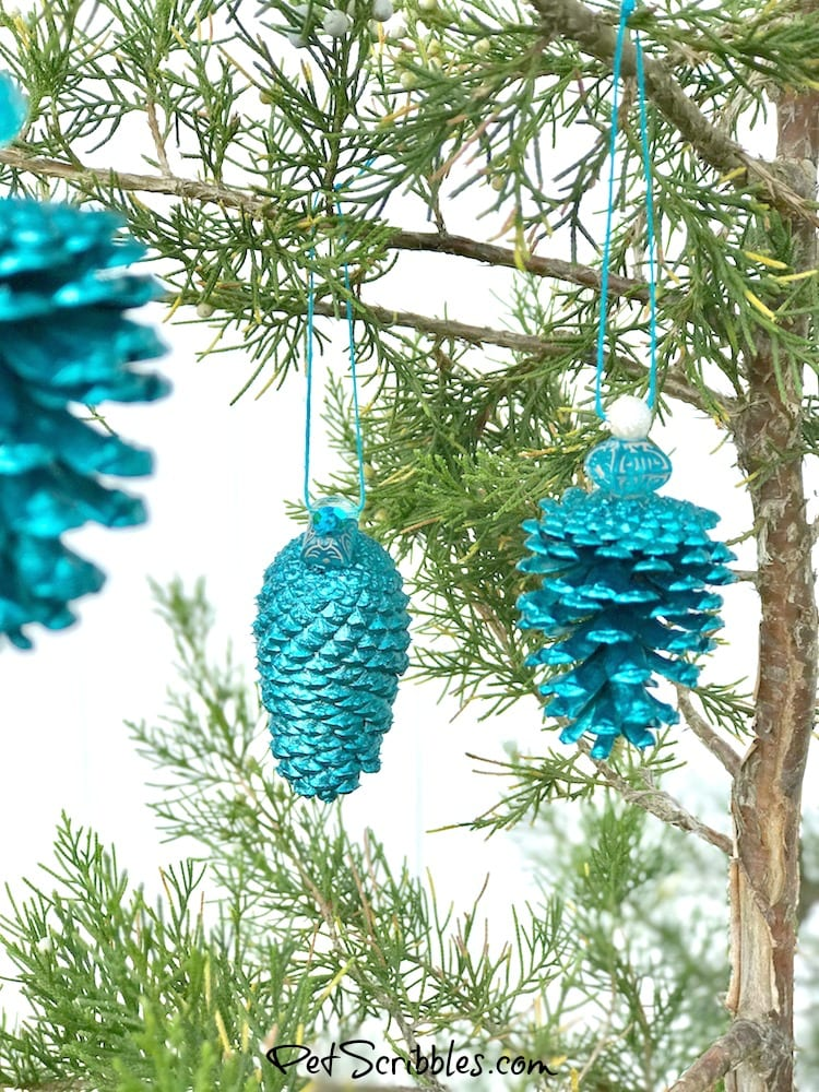 hand painted teal pinecone ornaments
