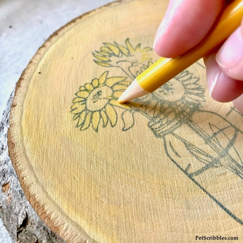 using colored pencils on a wood slice