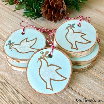 stamping on wood slice ornaments