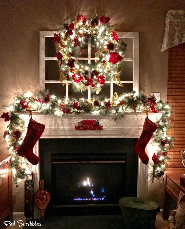 Elegant and Festive Christmas Wreath and Garland at Night!
