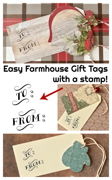 Easy Farmhouse Gift Tags using a self-inking stamp -- such a great idea!