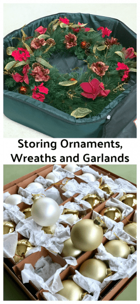 Storing ornaments wreaths and garlands